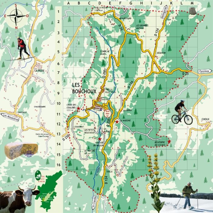 plan de la commune des bouchoux